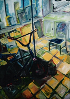 """""""Bicycle"""" oil on linen, 39 x 57 inches, 2001"""