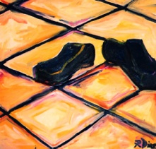 """Blue Suede Shoes"" oil on linen, 36 x 36 inches, 2001"
