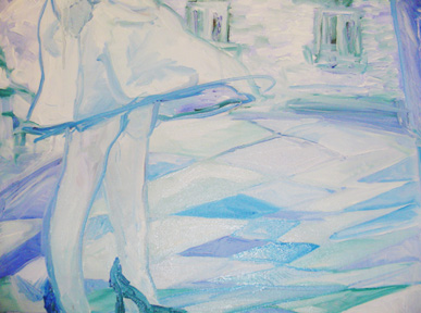 """""""Jambes 1"""" triptych, oil on linen, 22 x 18 inches, 2005"""