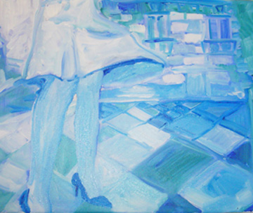 """""""Jambes 2"""" triptych, oil on linen, 17 x 14 inches, 2005"""
