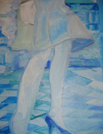 """""""Jambes 3"""" triptych, oil on linen, 15 x 19 inches, 2005"""