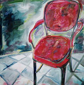 """Red Chair"" oil on linen, 36 x 36 inches, 2001"